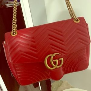 Gucci Large GG Marmont Red leather shoulder bag